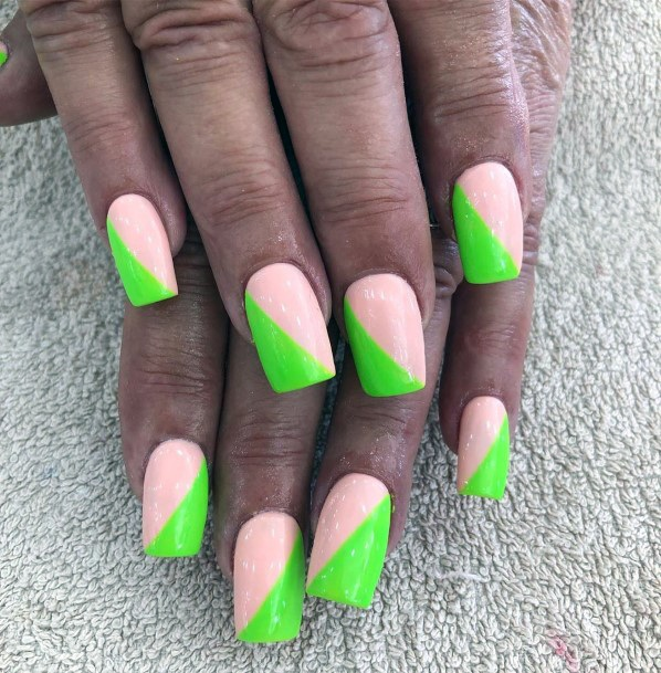 Alternating Light Pink And Neon Green Design On Nails