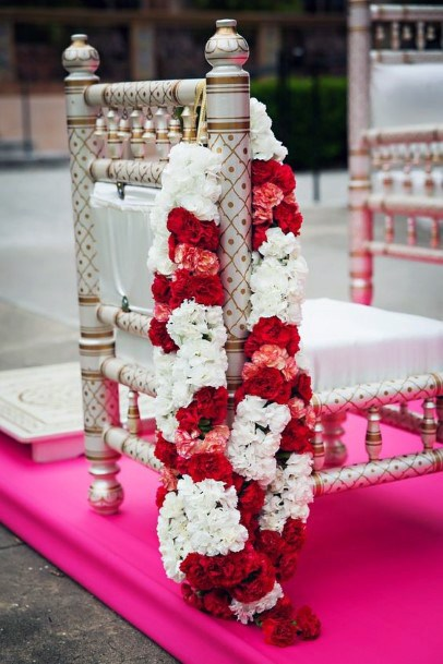 Alternating Red And White Garland Flowers Indian Wedding
