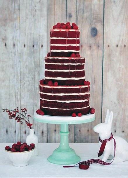 Alternating Rings Red Velvet Wedding Cake