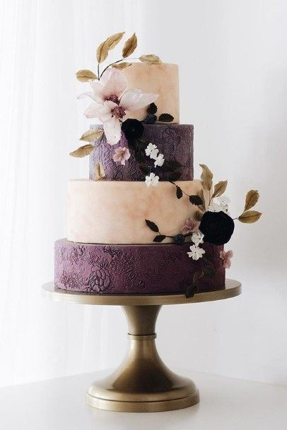 Alternating White And Purple Wedding Cakes