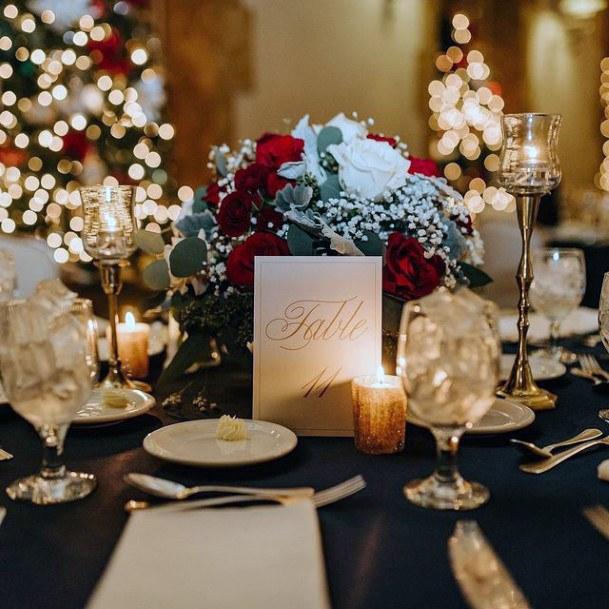 Amazing Christmas Wedding Flowers And Candle Light Golden
