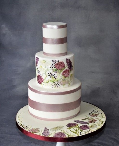 Amethyst Bands On White Cake Beautiful Wedding