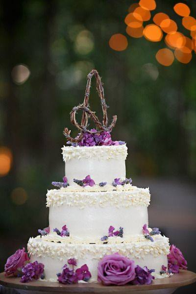 Amethyst Flowers On White Rustic Wedding Cake Toppers