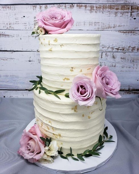 Amethyst Roses On Country Wedding Cake