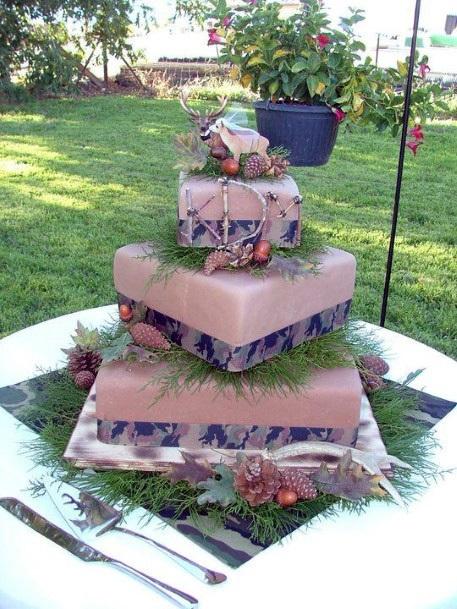 Amethyst Tiles Camo Wedding Cake