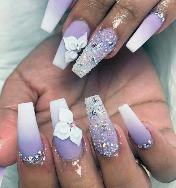 Amethyst White Ombre Nails Women