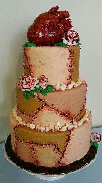 Anatomical Red Heart Halloween Wedding Cake