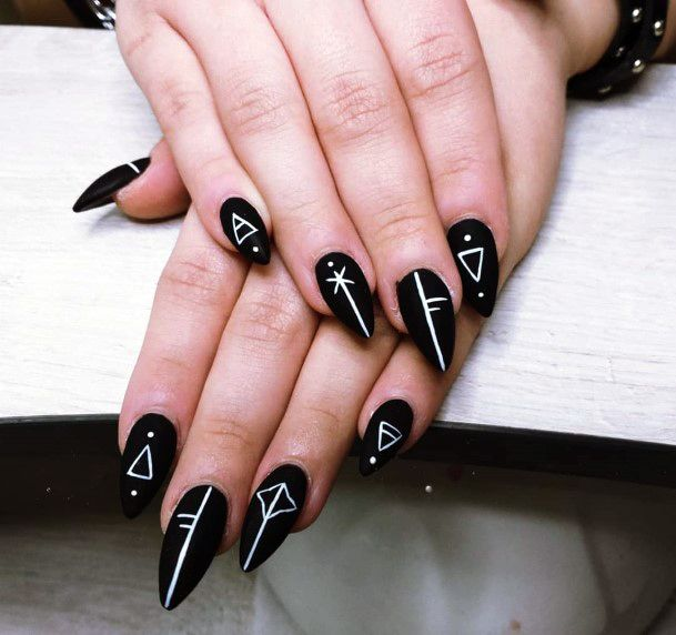Ancient Scriptures On Black Nails For Women