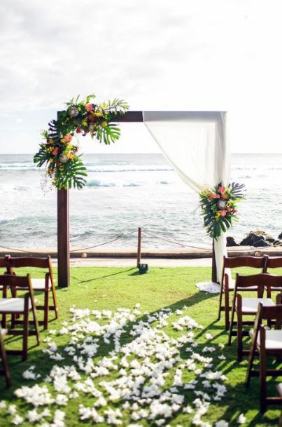 Angled Arch With Tropical Wedding Flowers