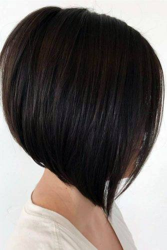 Angled Classic Smooth Bob Hairstyle Women