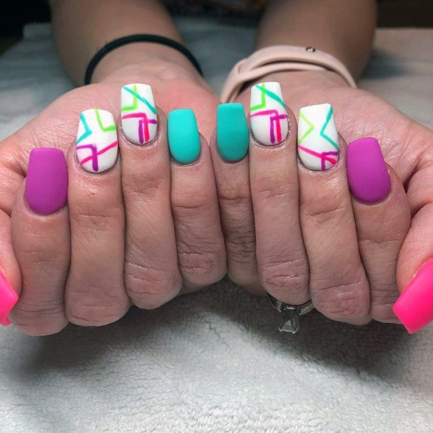 Angled Designs Colorful Nail Ideas For Women