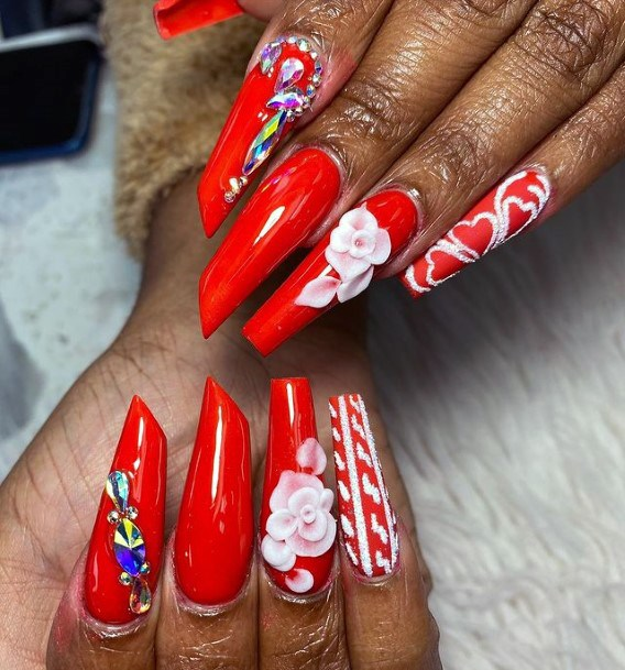 Angled Edge Red Nails 3d Flower Women