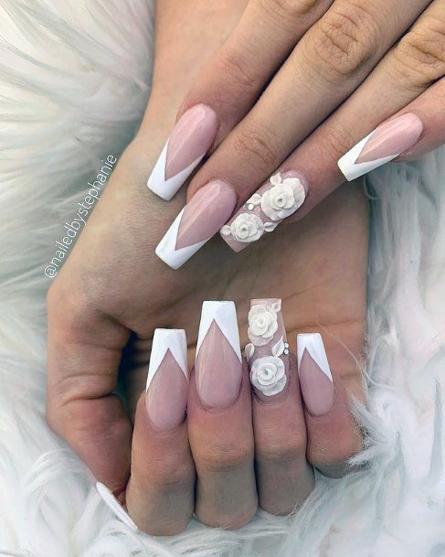 Angled French Manicure 3d Flower Nails Women