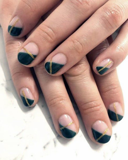 Angled Green Nails With Golden Line Women