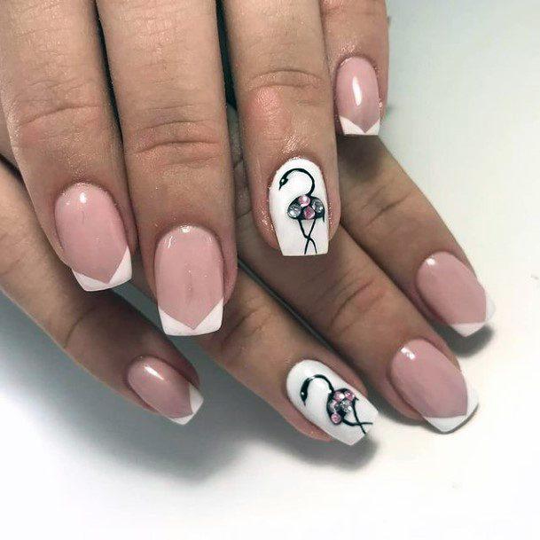 Angled Manicure Flamingo Nails Women