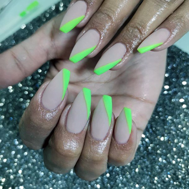 Angled Neon Green Tipped Nails