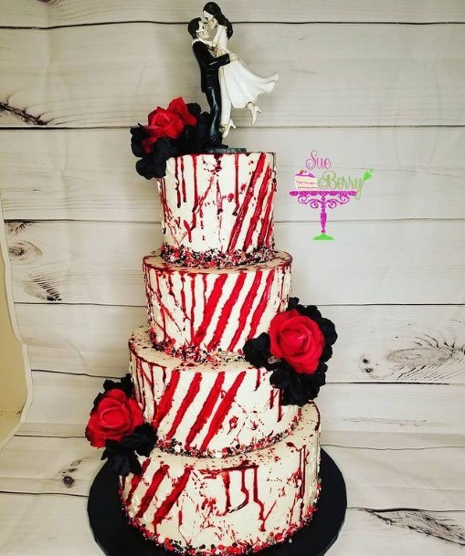 Angled Red Line White Halloween Wedding Cakes