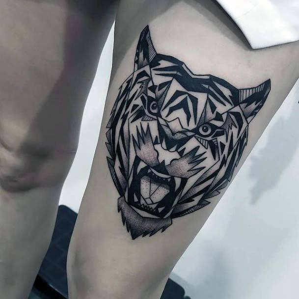 Angry Beast Tattoo Geometric For Women