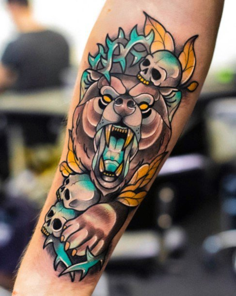 Angry Yellow And Blue Bear Tattoo For Women New School