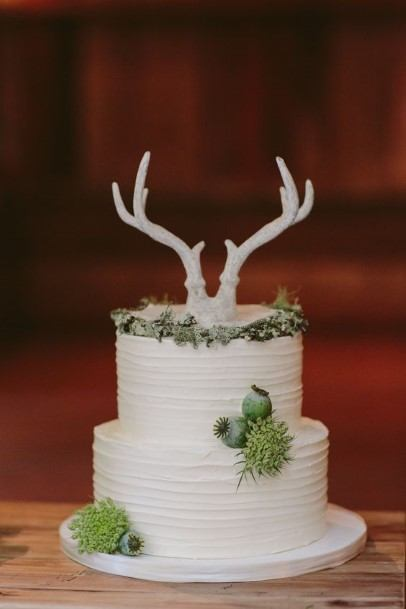 Animal Horn White Rustic Wedding Cake Toppers