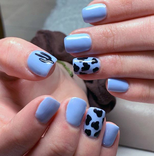 Animal Print Blue Cactus Nails Women Art