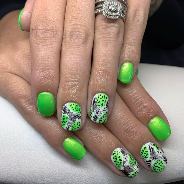 Animal Print Neon Green Nails