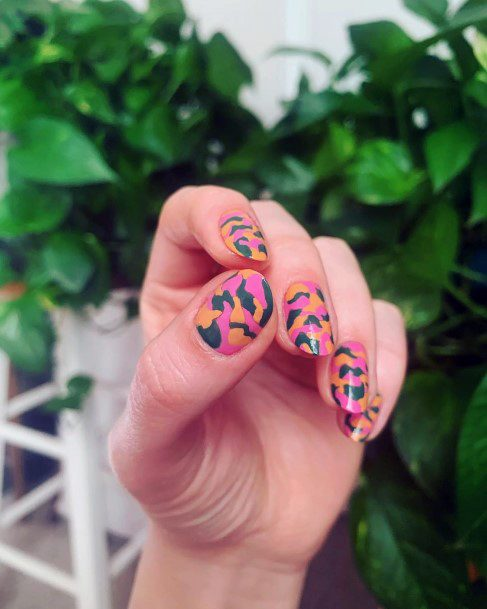 Animal Prints On Pink Nails