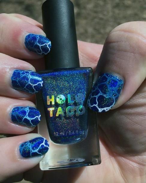 Animal Skin Blue Water Nails Women