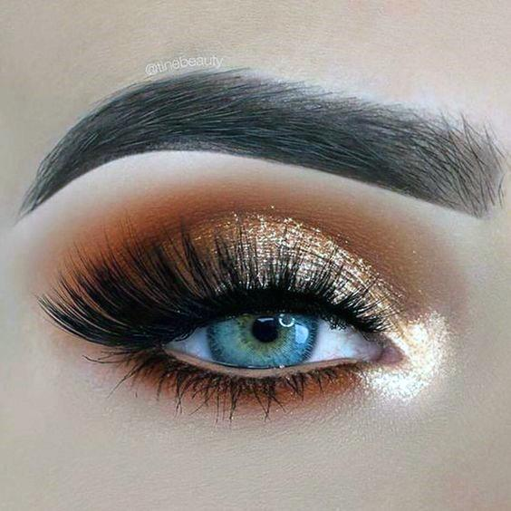 Antique Gold And Brown Eyeshadow Women