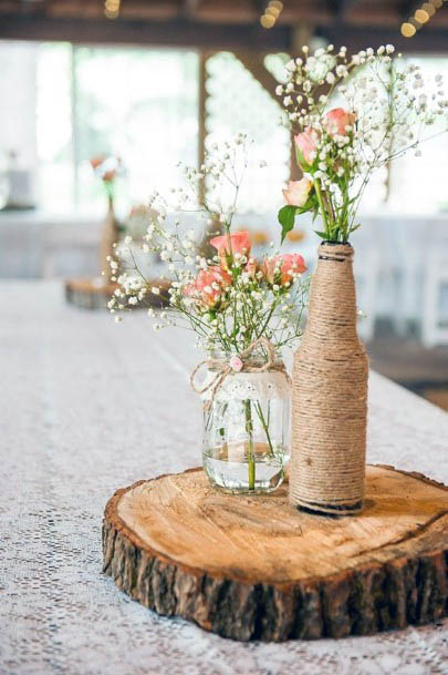 Antique Jars And Rustic Wedding Flowers