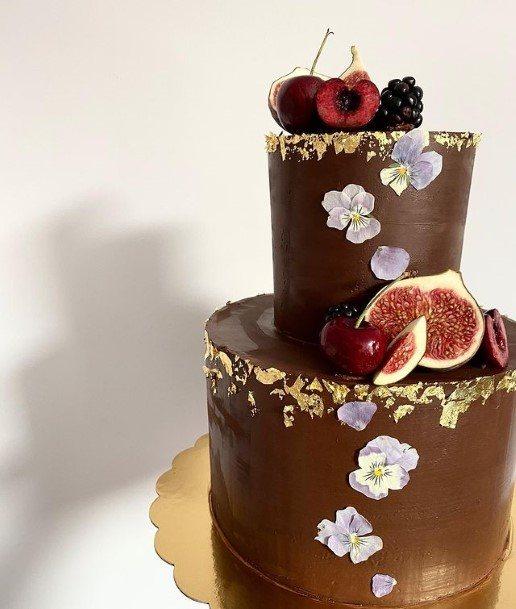 Apricots On Chocolate Wedding Cake
