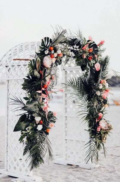 Arch With Tropical Wedding Flowers