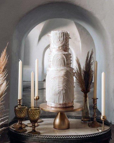 Arched Designs Textured Wedding Cake 3 Tiered Women