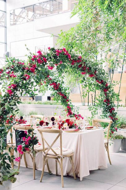Arched Red Wedding Flowers