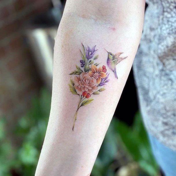 Aromatic Flowers And Hummingbird Tattoo Womens Hands