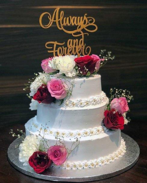 Aromatic Roses On 3 Tier Wedding Cake Women
