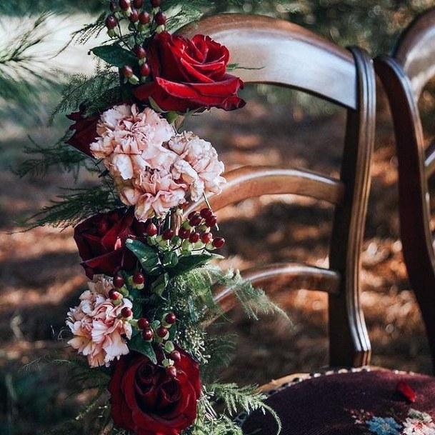 Arranged Christmas Wedding Flowers Chair