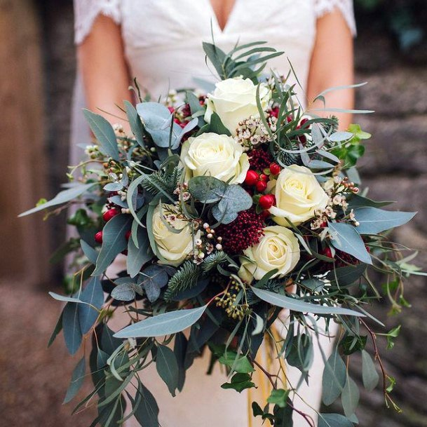 Arranged White Roses And Christmas Wedding Flowers