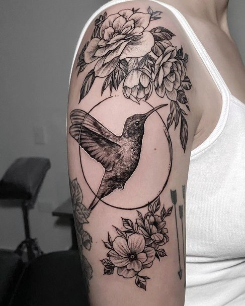 Array Of Flowers And Hummingbird Tattoo Black Womens Arms