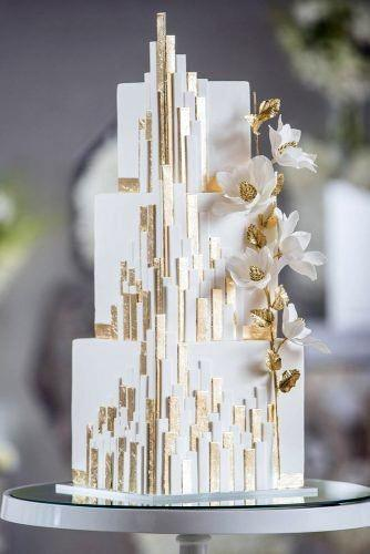 Art Deco Square Tiered Cake With Gold Accents Wedding Cake Ideas