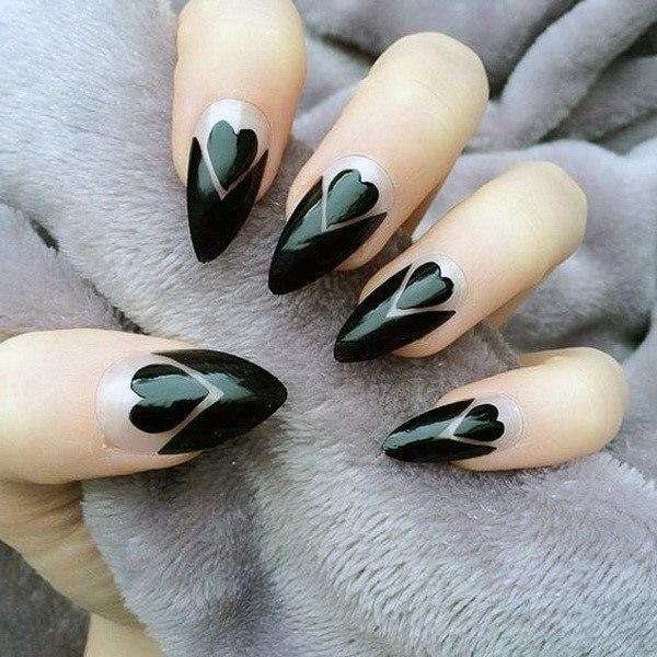 Artistic Black Heart Design On Nails Women