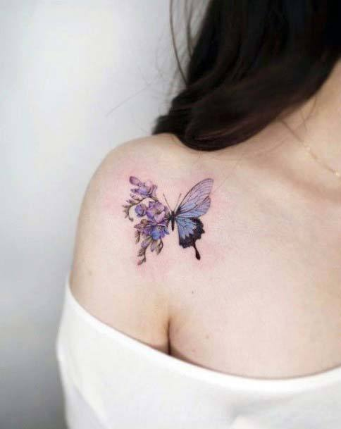 Artistic Buterfly Tattoo Small Cute Womens Shoulders