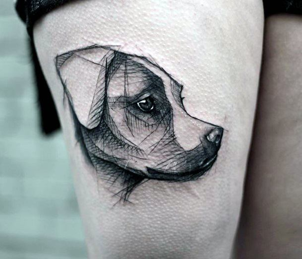 Artistic Drawing Dog Face Tattoo For Women
