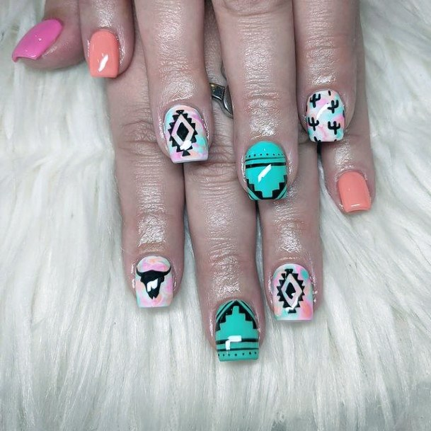 Artistic Pastel Cactus Nails Women