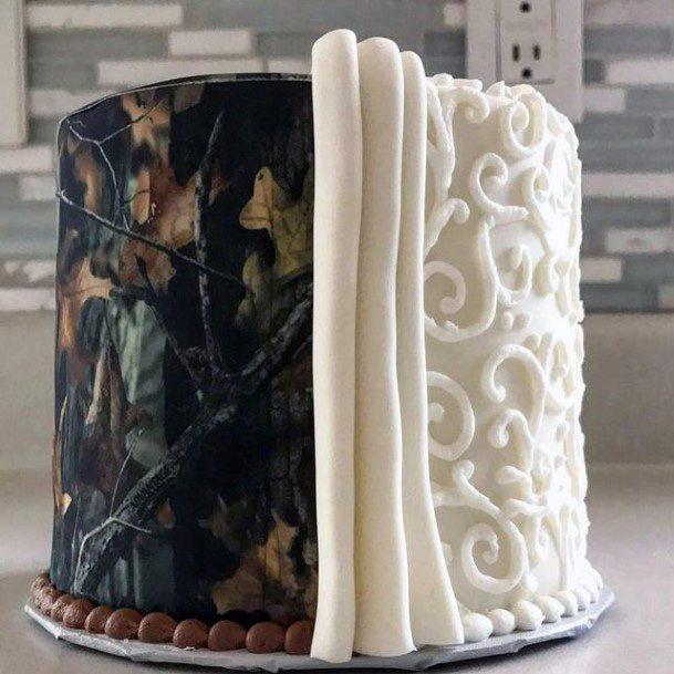 Artistic White And Dark Camo Wedding Cake