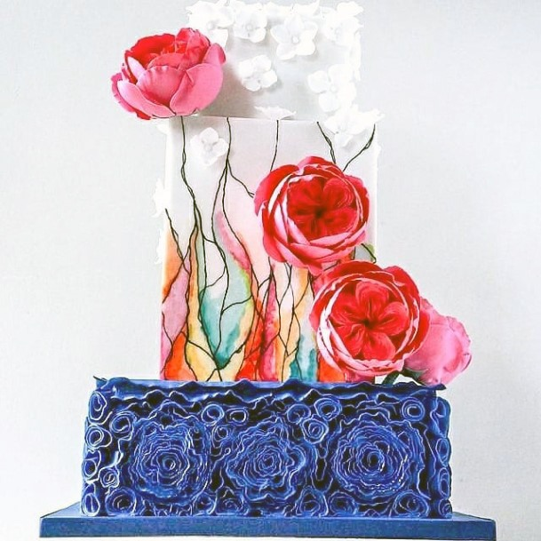 Artsy Stained Glass And Floral Wedding Cake Ideas