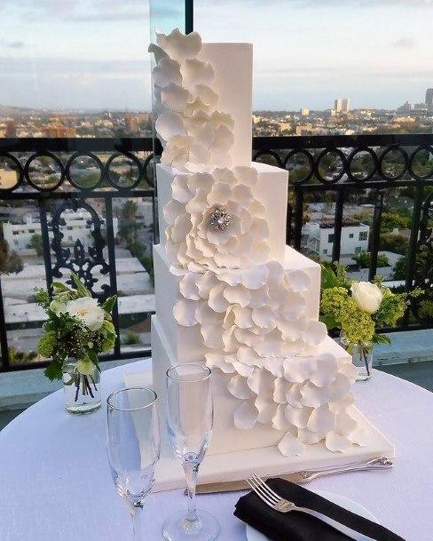 Ascending White Square Wedding Cake
