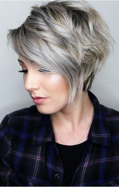 Ash Blonde With Dark Roots And Exaggerated Side Part Airy Hairstyle Ideas