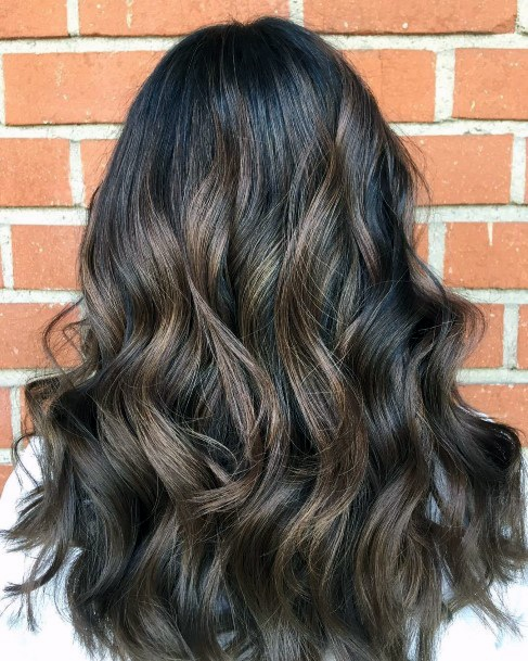 Ash Gray Highlights And Dark Brown Hair