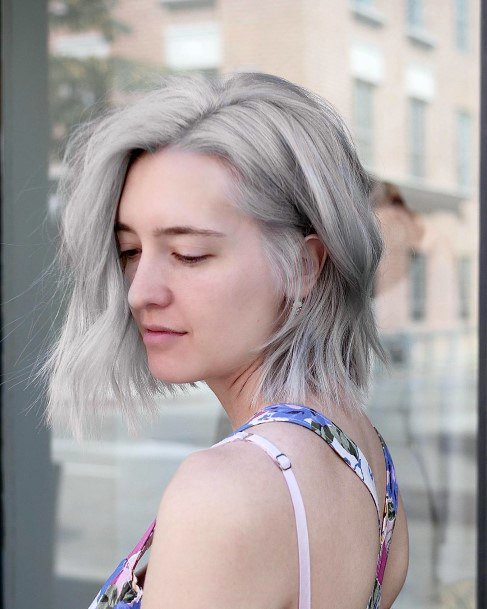 Ash To Gray Chin Length Airy With Easy Waves Throughout